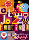 Jazz festival poster musical abstract collage vector illustration with musical instruments and inscription design with fonts Royalty Free Stock Images
