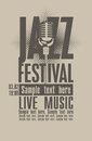 Jazz festival poster for the with a retro microphone Stock Image