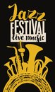 Jazz festival poster with wind instruments and mic Royalty Free Stock Photo