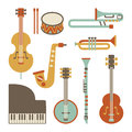 Jazz instruments set isolated on white Royalty Free Stock Photos