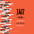 Jazz music festival, poster background template. Keyboard with music keys. Flyer Vector design Royalty Free Stock Photo