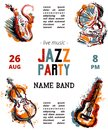 Jazz music party poster with musical instruments. Saxophone, guitar, cello, gramophone with grunge watercolor splashes.