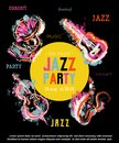 Jazz music party poster with musical instruments. Saxophone, guitar, cello, gramophone with grunge watercolor splashes. Royalty Free Stock Photo