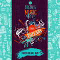 Jazz Music poster, ticket or program. Hand drawn illustration with brush strokes for jazz festival.