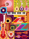Jazz musical collage vector illustration with musical instruments and inscription design with text Royalty Free Stock Images