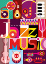 Jazz musical collage vector illustration with musical instruments and inscription music design with fonts Royalty Free Stock Images