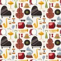 Jazz musical instruments jazzband music seamless pattern background vector Royalty Free Stock Photo