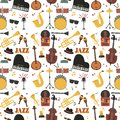 Jazz musical instruments tools background jazzband piano saxophone music seamless pattern sound vector illustration rock Royalty Free Stock Photo