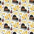 Jazz musical instruments tools background jazzband piano saxophone music seamless pattern sound vector illustration rock