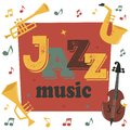 Jazz musical instruments tools background jazzband piano saxophone music sound vector illustration rock concert note. Royalty Free Stock Photo