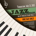 Jazz musician concert  poster with piano keys . Vector Royalty Free Stock Photo