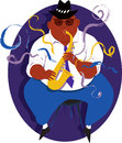 Jazz musician cool overweight black guy playing saxophone illustration Stock Images