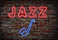 Jazz neon sign. Stock Photos