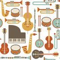 Jazz pattern seamless with instruments isolated on white Stock Images