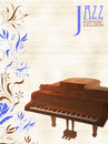 Jazz piano template for or other music performances with and floral motifs Stock Photos