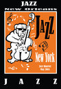 Jazz poster with double bass Royalty Free Stock Photo