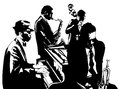 Jazz poster with saxophone, double-bass, piano and trumpet Royalty Free Stock Photo