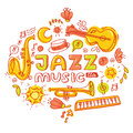 Jazz poster. Set of musical instruments: keyboard, bongos, maracas, guitar, trumpet, saxophone Royalty Free Stock Photo