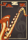 Jazz poster vintage with a saxophone and playful text Stock Photography