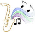 Jazz Saxophone Music/eps Royalty Free Stock Photo