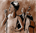 Jazz singer and double-bass Royalty Free Stock Photo