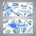 Jazz Tickets Music Instruments, banner design. Hand drawn drum, piaono, violin, guitar and saxophone on paint splashes.