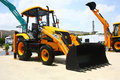 JCB 3DXL Wheeled Loader Launch at HITEX Exhibition Royalty Free Stock Photo