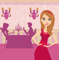Jealous woman in restaurant illustration Stock Photography