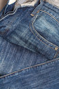 Jean with color blue clindirical shape close up Stock Photo