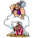 Jean wizard wish greedy aladdin cartoon illustration evil hidden treasures caricature Stock Image