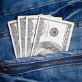 Jeans with american  dollars on its pocket Royalty Free Stock Images