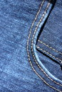 Jeans background denim wallpaper stock photos blue fabric with pocket and double stitch seam Royalty Free Stock Photos