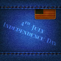 Jeans background with a leather flag and the inscription indepe blue independence day Royalty Free Stock Photography