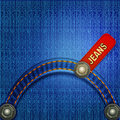 Jeans background with red label Stock Photos