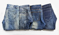 Jeans are beautifully detailed blue dark blue and black Stock Image