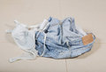 Jeans and bra has been removed on the floor Royalty Free Stock Photography