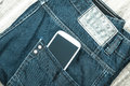Jeans with cellphone Royalty Free Stock Photo