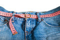 Jeans and centimeter belt with buckle Royalty Free Stock Image