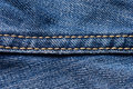 Jeans close-up. Seams. Interlacing the fabric with a close-up