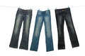 Jeans on clothesline Royalty Free Stock Photo