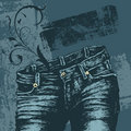 Jeans and design elements Stock Photography