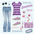 Jeans fashion set Royalty Free Stock Photography