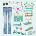 Jeans fashion set Stock Image