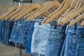 Jeans female cut off market stall close up Royalty Free Stock Photo