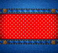 Jeans frame with polka dot patch Royalty Free Stock Photo