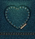 Jeans heart petroleum blue, I love you Royalty Free Stock Photo
