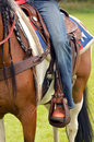 Jeans and horse detail of a western rider a cowboy leg wearing in a stirrup Royalty Free Stock Photo