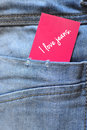 Jeans with label close up of a pink i love Royalty Free Stock Photos