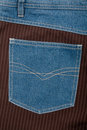 Jeans and lined brown fabric textures Royalty Free Stock Photos