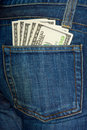 Jeans pocket with $100 bills Royalty Free Stock Photo